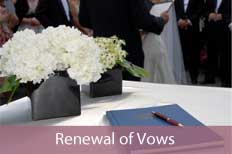 photo of marriage register - links  to renewal of vows page